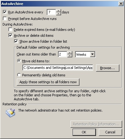[ Window containing AutoArchive settings...]