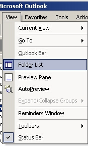 [ Select Folder List from the View menu to show or hide the folder view...]